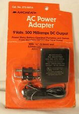 NEW Archer AC Power Adapter, 9Volts, 500 Milliamps DC Output