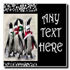 Funny Penguins Christmas Personalised Drinks Mat Coaster