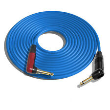 """(ONE)10' Canare GS6 Guitar """"BLUE"""" Cable w/Neutrik Silent RA-RA, Gold Contact"""