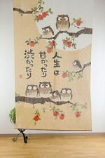 JAPANESE Noren Curtain NEW OWL BIRD persimmon MADE IN JAPAN