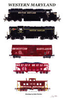 "Western Maryland Freight Train 11""x17"" Railroad Poster by Andy Fletcher signed"
