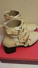 New Dolcis Nude Gold Buckle Strap Open Block Heel Boots Size 8
