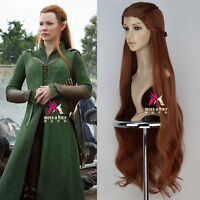 The Hobbit Elf Tauriel Synthetic Long Wavy Auburn Movie Cosplay Wig with Braid