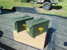 2..MILITARY SURPLUS . 50 CAL AMMO CANS TOOL BOX HUNTING LODGE CABIN LOG MOOSE