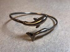 Vintage Kabana Signed KBN Sterling Silver Dolphin Wrap Bangle Tension Bracelet