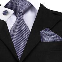 USA Blue Pink Plaids&Checks Mens Silk Tie Jacquard Woven Necktie Wedding Party