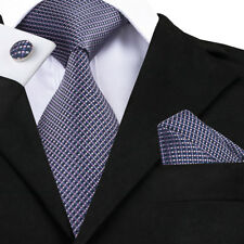 USA New Classic Blue Checks Mens Silk Ties Jacquard Woven Necktie Wedding F&S