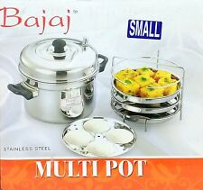 2 in 1 Bajaj Multi Cooker Idli + Dhokla Cooker Small Stainless Steel Multi Pot