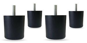 """2-1/4"""" Black Plastic Round Sofa Furniture Legs - Set of 4"""