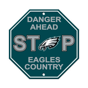 """Philadelphia Eagles Stop Sign """"Danger Ahead"""" 12""""X12"""" Man Cave Eagles Country"""