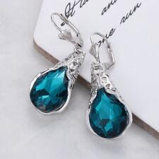 Women Natural GEMSTONE Blue Sapphire Stud Dangle Earrings Jewelry Gift Chic