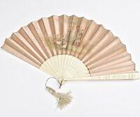 ART NOUVEAU C.1900 Antique French Silk Folding Fan Hand Painted Signed Romantic