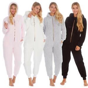 Ladies Borg 1Onesie Winter Soft Sherpa Fleece Hooded All In One Zip Jumpsuit