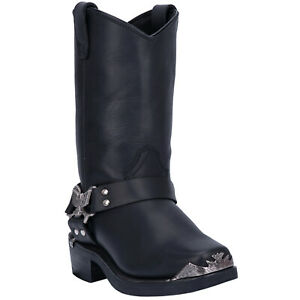 Dingo Mens Chopper Western Cowboy Boots Harness Tr/Hr Leather Snoot Toe Black