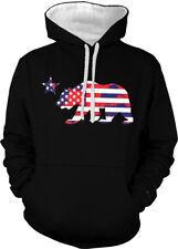 California Bear Star American Flag Colors United Ca Two Tone Hoodie Sweatshirt