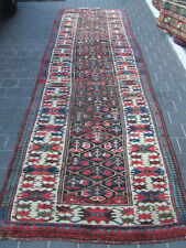 ANTIQUE KURDISH RUG HAND KNOTTED RUNNER 357x105-cm / 140.5x41.3-inches