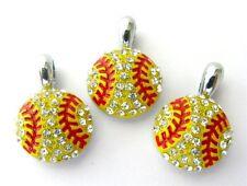 10pcs Crystal Sport Softball Hang Pendant Charms DIY Necklace/Collar/Bracelet