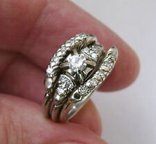 BEAUTIFUL VINTAGE 18K WHITE GOLD & DIAMOND TRIO RINGS with written Appraisal