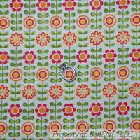 BonEful Fabric FQ Cotton Quilt White Orange Pink Flower Green Leaf Dot Stripe NR
