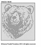 GRIZZLY BEAR Filet Crochet Pattern