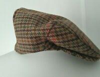 Vintage B Luft Peaky Blinders Style Tweed Flat Cap Wool M 56-57cm Gamekeeper