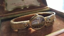 VINTAGE WOMENS LONGINES WITTNAUER GOLD PLATED WATCH +  GOLDEN CASE BOX