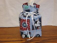 Mickey Mouse in squares blue cotton Fabric Handmade sq Tissue Box Cover/gift bag
