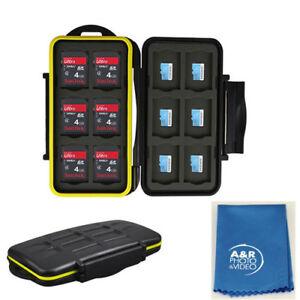 JJC MC-SDMSD24 Water Resistant Holder Storage Memory Card Case &12 Micro SD Card