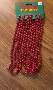 Vintage Darice Holiday Trimmings Christmas Tree Beaded Garland 9' Red 8mm Beads