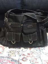 """Carters Everyday Tote Diaper Baby Bag Black with Faux leather trim EUC 17"""" x 12"""""""