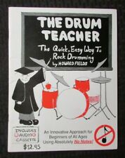 1991 The Drum Teacher Rock Drumming by Howard Fields Fvf 7.0 Signed 28pgs