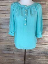 Banana Republic Trina Turk Womens Shirt Aqua Silk Top 3/4 Sleeve Casual