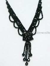 Victorian Vintage style black beaded necklace star choker with earrings