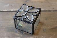 Antique Iridescent Glass Hinged Trinket Box