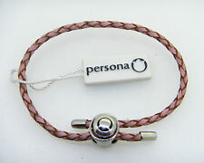 NEW PERSONA PINK BRAIDED SINGLE WRAP LEATHER AND STERLING SILVER BRACELET