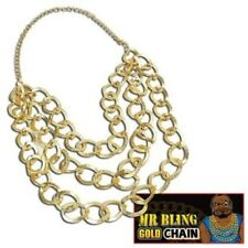 Mr T BA Baracus 1980s 80s Gold Chain Bling Pimp Fancy Dress Accessory P6262
