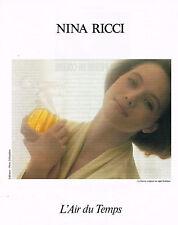PUBLICITE ADVERTISING 104  1991  NINA RICCI  D. HAMILTON pafum AIR DU TEMPS