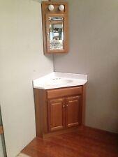 24x24 Oak Corner Vanity Cabinet W/Top & Med Cabinet