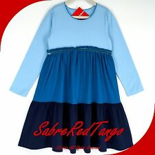 NWT HANNA ANDERSSON LOVE TO TWIRL GIRL DRESS BLUE MULTI COLORBLOCK 90 3T 3