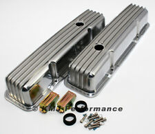 58-86 SBC Chevy 350 Retro Finned Polished Aluminum Tall Valve Covers 327 400