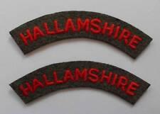 BRITISH ARMY. HALLAMSHIRE VOLUNTEER RIFLE CORPS SHOULDER TITLES ( PAIR ).