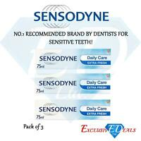 3 x Sensodyne Toothpaste Daily Care Extra Fresh For Sensitive Teeth - 75ml