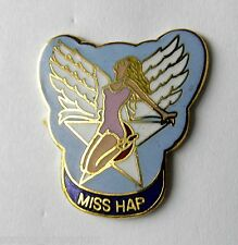 MISS HAP CLASSIC NOSE ART USAF USA LAPEL PIN BADGE 1 INCH
