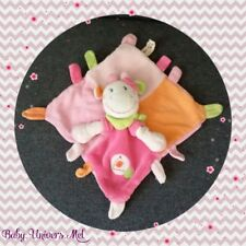 Peluche Doudou Nicotoy Vache rose orange TBE 23cm