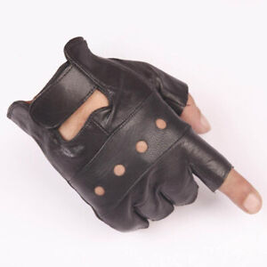Motorcycle Leather Black Fingerless Gloves Gym Cycling Driving Biker Racing Mens