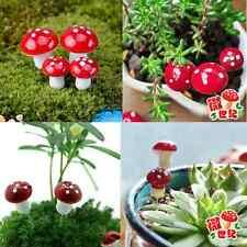 20Pcs Mini Red Mushroom Garden Ornament Miniature Plant Pots Fairy DIY Dollhouse