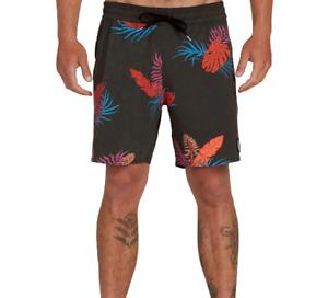 Volcom Men's Bermuda Tropical Swim Trunks  Black Tropical Size 40
