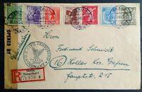SBZ Nr. 1 - 7 A Satz als US Zensur R- Brief Berlin Tempelhof nach Gießen