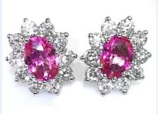2.00ct Pink Sapphire and 1.00ct F VS Diamond Cluster Earrings, 18ct Yellow Gold