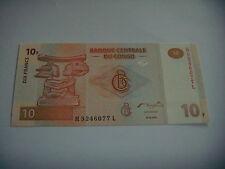 BILLET  DE  10  FRANCS  DU  CONGO   ANNEE  2003  NEUF